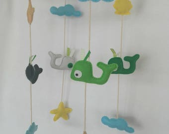 Green and white whale mobile in felt and Driftwood
