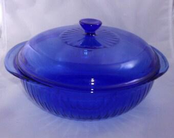 Pyrex Cobalt Blue Casserole Dish with Lid 2 Quart Ribbed Glass Vintage