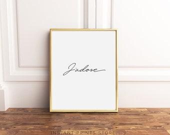 Frans citeer Art J'adore Type Print Fashion typografie Poster Parijs Frankrijk stijl afdrukbare Art zwart witte Artwork downloadbare Modern