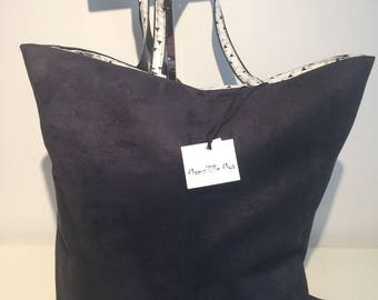MIX black faux suede and cotton tote bag