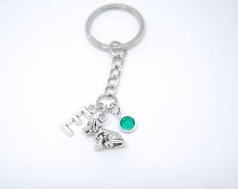 Dog keychain, pet memorial jewelry, dog memorial, personalised dog, dog initial, custom keyring, custom keychain, birthstone keyring