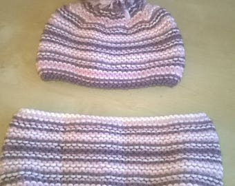 Tassel and original cowl Hat hand knitted baby girl