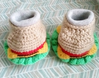 Crocheted Cheeseburger Baby Booties 0-9 Months