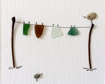 Clothesline with birds, pebble art, original Pebble art, kathrins pebble art, sea glass and pebbles, Crystal art, pebble art picture