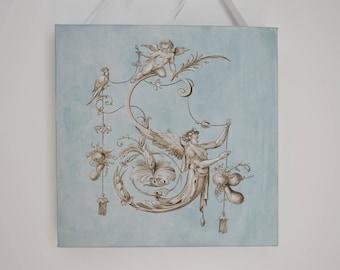 Tableau trompe l'oeil grotesque/huile sur toile/Ornement français/grisaille/style shabby chic/Monogramme peint/Peinture 18ème