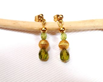 Small Dangle Earrings green and Golden