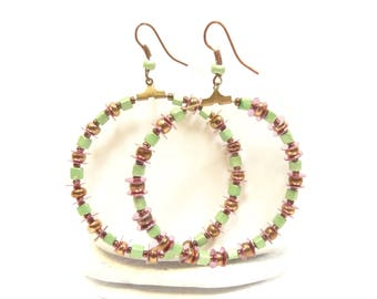 Hoop copper green earrings
