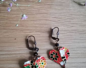 Red origami - traditional pattern heart earrings