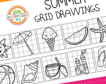 Summer Grid Drawings for Kids