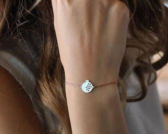 14K Gold Pomegranate Bracelet -Bracelet - 14k Gold Bracelet -   Available in 14k Gold, White Gold or Rose Gold