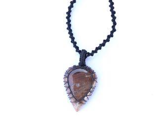 Jasper Pendant, Macrame Necklace, Macrame Pendant, Handmade Jewelry, Macrame Jewelry, Pendant Necklace