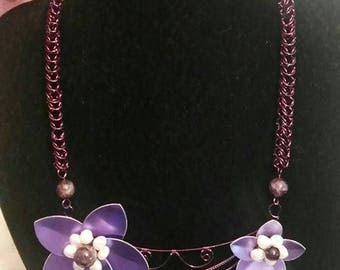 Handmade Purple Wire Work Flower Necklace with Scales, Pearls and Amethyst