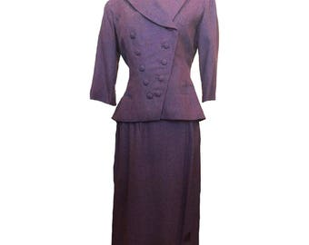 1940's plum woven wool skirt suit with split front over skirt