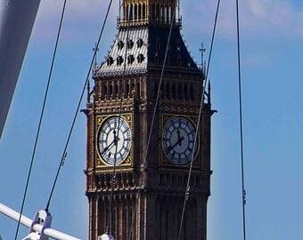 Big Ben & London eye, London, City of London Wall Decoration, Building Photo, Art Print