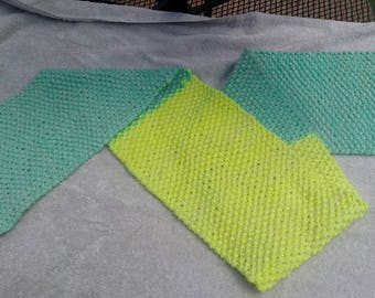 Mint/Neon Yellow Seed Stich Scarf