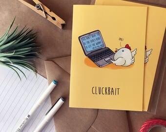 Cluckbait Greeting Card- Blank Inside