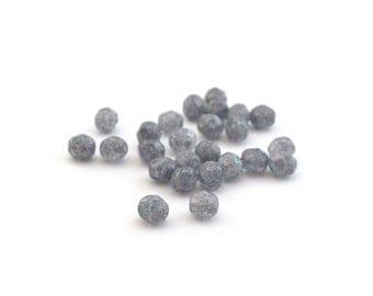 25 gray mottled 6mm faceted Czech beads
