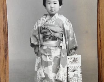Vintage Original Black and White Studio Photo Little Japanese Cute Girl with Kimono 1960s? Children Fashion Japan