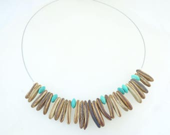 Choker necklace turquoise and exotic seeds