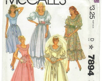 7894 McCall's - Bride & Bridemaid Gown - Uncut Sewing pattern - Vintage 1982  sizes 6, 8, 10, 14