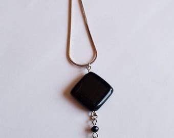"""Black Stone and Bead Pendant Necklace with 18"""" Chain"""