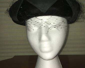 Vintage Black Velvet Hat, 1950s