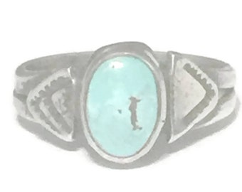Vintage Baby Ring Size 1 Plus Turquoise Ring Vintage Pinky Ring Size 1 Midi Ring Size 1 Navajo Ring Children Ring Sterling Silver Ring