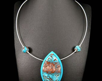 Turquoise and chocolate close necklace