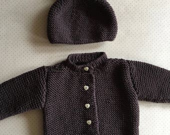 Baby 6 months in plum Wool Cardigan