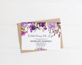 Purple Floral Bohemian Funeral Announcement Invitation Mourning Invitation  Cards Memorial Service In Loving Memory Funeral Editable  Invitation For Funeral