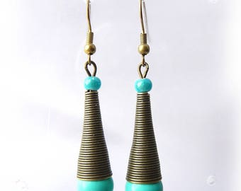 Cone and turquoise bead earrings