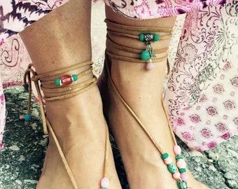 Barefoot  Sandals - Soft Pinks and Turquoise