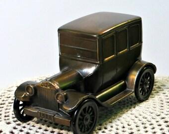 Vintage Metal Car Bank 1926 Model T Ford | 1974 Banthrico Inc. Chicago | Moving Wheels | Nostalgic | Copper Brass | Vintage 1974 | Made USA