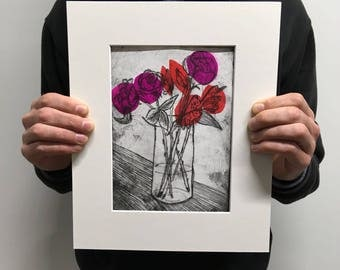 Still Life Red and Purple Bouquet Drypoint with Chine Colle