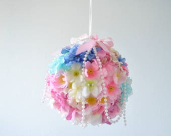 Floral ball,Flower ball,Baby mobile,Flower mobile,Floral mobile,Gift,pink,mint,blue,Baby chandelier,floral decoration,Wedding chandelier