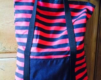 Red & Black Striped Bag with Pocket Detail