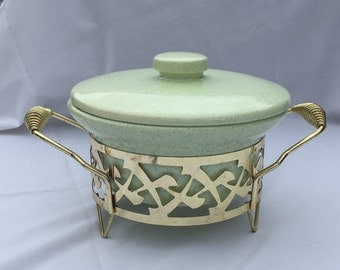 Green Speckled Ceramic Covered Casserole and Metal Holder