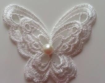 double papillon en dentelle blanc 65mm