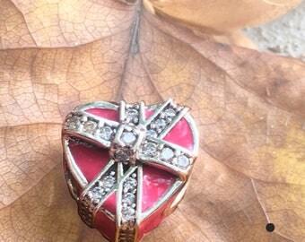 Sterling Silver 925 Gift of Love Enamel Magenta Charm Bead 792047CZ- Pandora Charm, Pandora Bracelet, Fits European & Pandora Charm Bracelet