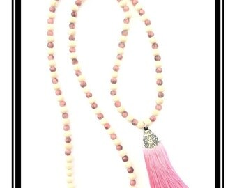 Long pink tassel, natural wooden beads beige & pink, multicolor glass beads / Bohemian / boho / necklace