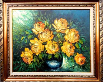 Decorative oil painting on canvas - Yellow roses