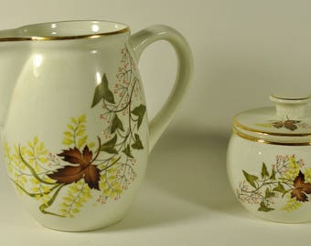 Antique Mexican Anfora Brand Creamer and Sugar Bowl: Unknown pattern 61
