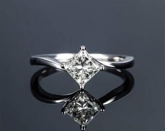 Princess Moissanite Engagement Ring 14k White Gold Solitaire Forever One Moissanite Ring Diamond Engagement Ring Anniversary Ring