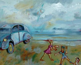 Children and the old car at the beach...