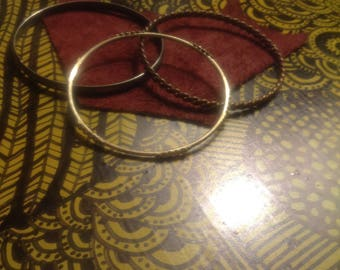 Stack 5: Set of 3 Mixed Metal Bangle Bracelets