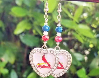 St. Louis Cardinals Heart Charm Earrings
