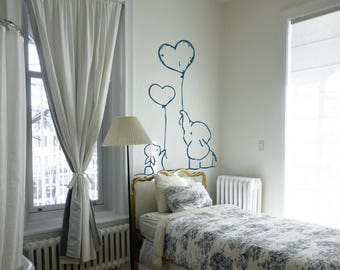 Bunny and Elephant hold heart shaped ballons Wall Decal / Sticker | Wall decor for bedrooms, Nurseries..| Magical Minds Decal Collection