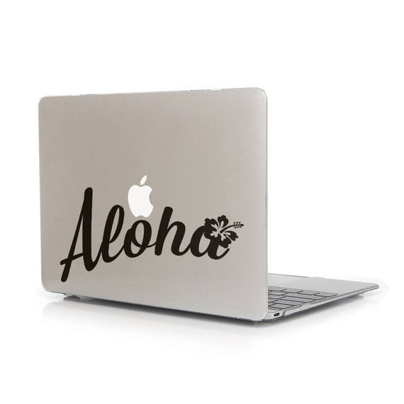 Aloha Decal Sticker for Macbooks and other Laptops, Vinyl Sticker Skin Hawaii Mahalo Honolulu Surf Paradise Island, Beach, mac