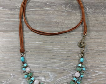 Suede and Gemstone Necklace