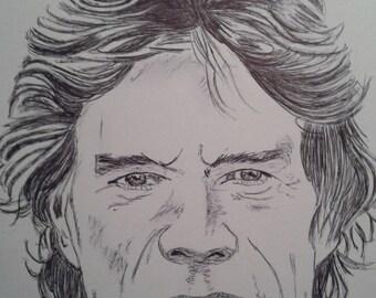 Mick Jagger portrait in pen